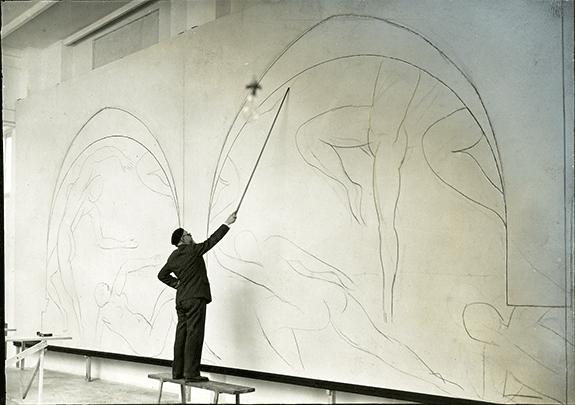 Barnes 4 Matisse working on Mural